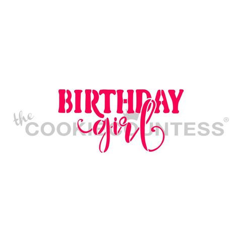"""Birthday Girl Happy Birthday stencil. Design measures 2.85"""" x 1.44"""".  Overall stencil size approximately 5.5"""" x 5.5"""". PINK sections in image are the open sections. Stencils are 5mil Food Grade plastic, washable and reusable."""