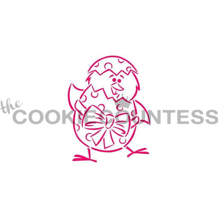"Designed by the talented Drawn with Character - Standing Chick and Egg stencil.  Design size is 2.5"" x 2.85""  Use as a Paint your Own stencil, or as it's own design! Overall stencil size is approximately 5.5"" x 5.5"". PINK sections in image are the open sections. Stencils are 5mil Food Grade plastic, washable and reusable."