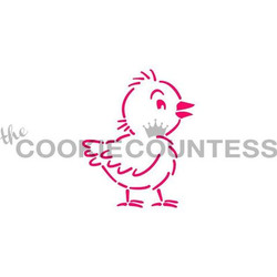 "Whimsical Chick stencil.  Design size is 2.5"" x 2.85""  Use as a Paint your Own stencil, or as it's own design! Overall stencil size is approximately 5.5"" x 5.5"". PINK sections in image are the open sections. Stencils are 5mil Food Grade plastic, washable and reusable."