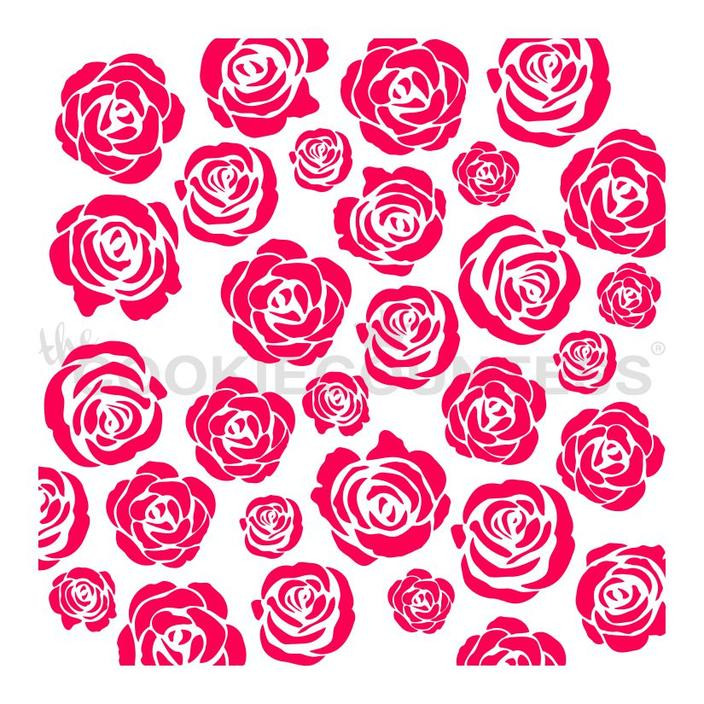 "Rose Garden stencil. Overall stencil size is approximately 5.5"" x 5.5"". PINK sections in image are the open sections. Stencils are 5mil Food Grade plastic, washable and reusable."