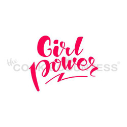 "Girl Power stencil. Designs size is 3"" x 2.41"".  Overall stencil size approximately 5.5"" x 5.5"". PINK sections in image are the open sections. Stencils are 5mil Food Grade plastic, washable and reusable."