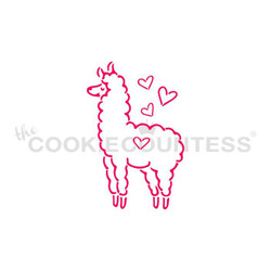 "Llama Paint Your Own stencil.  Design size is 1.97"" x 3"" Overall stencil size approximately 5.5"" x 5.5"". PINK sections in image are the open sections. Stencils are 5mil Food Grade plastic, washable and reusable."
