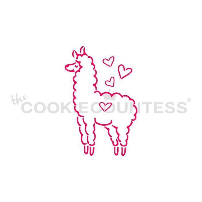 """Llama Paint Your Own stencil.  Design size is 1.97"""" x 3"""" Overall stencil size approximately 5.5"""" x 5.5"""". PINK sections in image are the open sections. Stencils are 5mil Food Grade plastic, washable and reusable."""