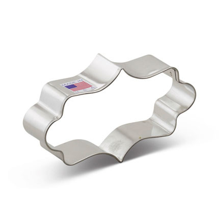 "The 4 1/8"" Long Fancy Plaque Cookie Cutter is one of our more versatile cookie cutter shapes. It is perfect making an assortment of decorative cookies and elaborate designs. Use it as a fancy frame, plaque or backdrop for your next cookie decorating project. This shape is also perfect as a fondant cutter or as a shape for your next decorating or craft project."