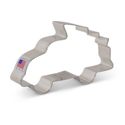 "This 2 7/8"" x 5"" cookie cutter represents the annual tradition of fastening a freshly-chopped tree to the top of your vehicle and hoping it doesn't fall off! The Truck with Christmas Tree Cookie Cutter is perfect for cookie decorating with kids or creating a cookie platter."