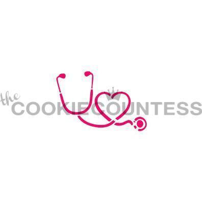 """Stethoscope and Heart stencil. design size is 2.5 x 2"""". Overall stencil is approximately 5.5"""" x 5.5"""". PINK sections in image are the open sections. Stencils are 5mil Food Grade plastic, washable and reusable."""