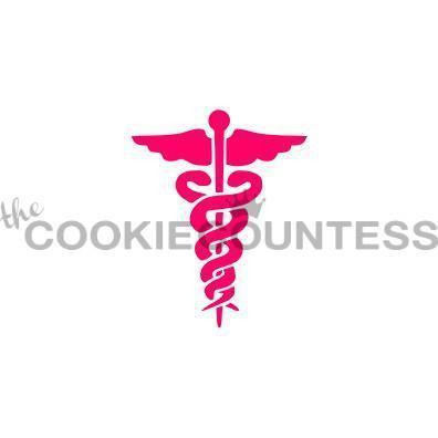 """Caduceus stencil. design size is 2.25 x 2.75"""". Overall stencil is approximately 5.5"""" x 5.5"""". PINK sections in image are the open sections. Stencils are 5mil Food Grade plastic, washable and reusable."""
