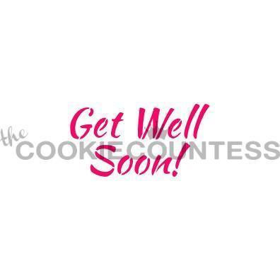 """Get Well Soon! stencil. Design size is 2.75 x 1.5"""". Overall stencil is approximately 5.5"""" x 5.5"""". PINK sections in image are the open sections. Stencils are 5mil Food Grade plastic, washable and reusable."""