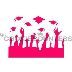 "Throwing Grad Caps stencil.  Design size is 4.25"" x 3.5"". Overall size approximately 5.5"" x 5.5"". PINK sections in image are the open sections. Stencils are 5mil Food Grade plastic, washable and reusable."