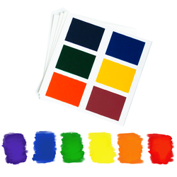 """Save time on your PYO cookies orders! No need to make an additional paint palette with these cute, handy palettes.  Edible paint in 6 rainbow colors: red, orange, yellow, green, blue, and violet. Colors on palette appear darker than the final result.  Palettes come 12 to a pouch. Leave in pouch & avoid moisture until time to use. 3-year shelf life. Each palette is 3.25"""" x 3.25"""", color square are 1.25 x .875"""" Ingredients: Sugar, tapioca starch, water, microcrystalline cellulose, glycerine, corn syrup solids, modified corn starch, sodium alginate, titanium dioxide, polyglycerol esters, citric acid, potassium sorbate (preservative), FD&C blue #1, red #3, red #40, yellow #5, yellow #6. Allergen Information: The following ingredients are not used in this facility and will not come into contact with the products being produced – Wheat, Milk, Eggs, Fish, Shell-fish (crustaceans), Peanuts, and/or Tree nuts, Mustard Seed, and Sulfites. Kosher certified (OU) The paper backing on the palettes is FDA approved food-grade paper. Paper is not edible. Use care when opening the pouch with scissors as not to cut palettes How many cookies does a palette cover? One palette has enough paint to color up to 3 cookies. However, we recommend giving each painter their own palette, because kids like to have their own! Please note this depends on how much paint is used, and on the size of the cookie."""