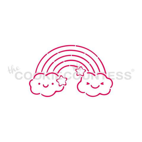 """ainbow Paint Your Own stencil.  Design size is 3.25"""" x 2.01"""" Overall stencil size approximately 5.5"""" x 5.5"""". PINK sections in image are the open sections. Stencils are 5mil Food Grade plastic, washable and reusable.  What is a PYO?  PYO stands for """"Paint Your Own"""" Cookie. This popular style of cookie uses a cookie stencil to create a design that can be used with one of our Edible Paint Palettes for a fun activity!"""