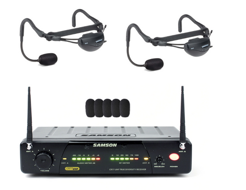 Samson Airline 77 AH1 Headset System BUNDLE:  2 Samson AH7 Headset/Transmitters, 1 Samson CR77 UHF Receiver, 1 FREE Connecting Cable, 2 FREE Sweat Guards, 5 FREE Foam Windscreens