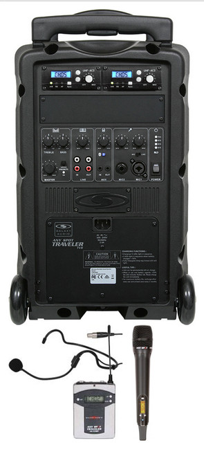Galaxy Audio GAL08COMBO TV8 AC/Battery-Powered 120 Watt Portable Sound System - Basic System + 1 Handheld System + 1 Fitness Headset Mic System with Beltpack (no CD)