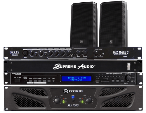"""Dance Studio Sound System #3 - 300 Watts RMS Ideal for Dance Studios up to 1.500 sq. ft. Includes Crown XLi-1502 300 Watt Power Amplifier, Samson SM4 4-Channel Mixer with Bluetooth™, Electro-Voice ZLX15 400 W RMS, 1,000 W Peak, 15"""" Speakers (pair),  Electro-voice ZLX Speaker Brackets (pair), 100 ft. CB14WP White Plenum Speaker Cables, Speakon Plugs (2), Audio Cable Connecting Kit"""