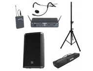 "Supreme System #3 250-watt RMS, 1,000-watt peak  @ 8 Ohms For Studios up to 1,500 sq. ft. Powered Speaker & Stand:  Electro-Voice ZLX15P 15"" 2-Way Powered Speaker (1) On-Stage Speaker Stand (single) with carry bag Wireless Mic & Accessories: Samson Concert 88 QEP3 Fitness Headset/Beltpack Wireless Mic System (Freq. D) Connecting Cable Kit"