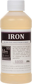 Iron comes in 8, 16 and 128 ounces.