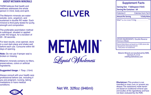 Metamin Silver (Cilver), Liquid Ionic Angstrom Minerals is available in 16, 32, or 128 oz sizes