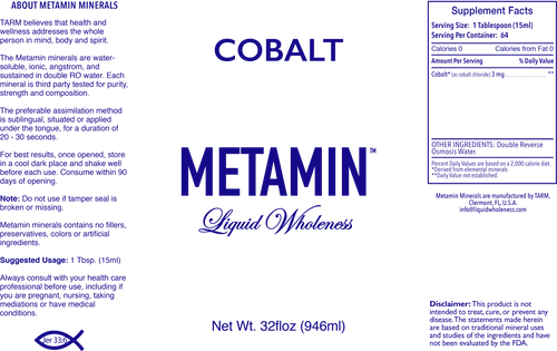 Metamin Cobalt, Angstrom Ionic Liquid Mineral also available in 16, 32 or 128 oz sizes.