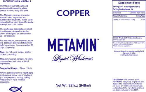 Metamin Copper, Ionic Angstrom Liquid Minerals available in 16, 32, or 128 oz