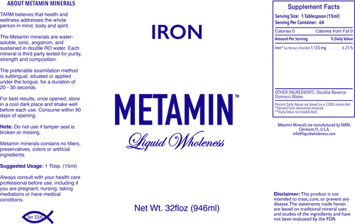 Metamin Iron, Ionic Angstrom Liquid Minerals available in 16, 32, or 128 oz sizes