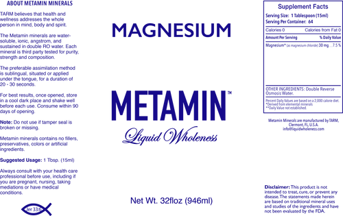 Metamin Magnesium, Ionic Angstrom Liquid Minerals (available in 16, 32, and 128 oz)