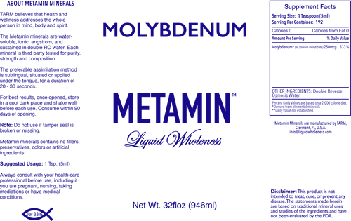 Metamin Molybdenum, Ionic Angstrom Minerals available in 16, 32, and 128 oz