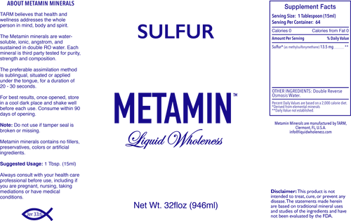 Metamin Sulfur is also available in 16, 32, or 128 oz sizes.