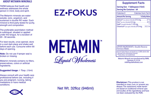 Metamin EzFokus, Ionic Angstrom, Liquid Minerals, is available in 16,32, or 128oz