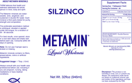 Metamin SilZinCo (CilZinCo), Liquid Ionic Angstrom Minerals Formula availabe in 16, 32, and 128 oz