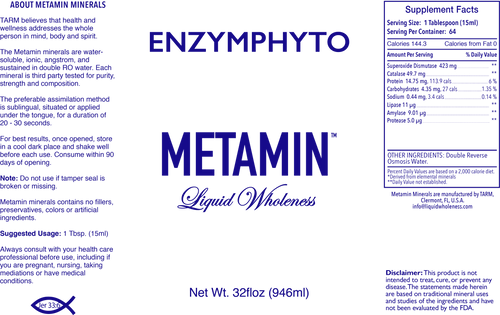 Metamin EnzymPhoto Nutrient (EPN) is also available in 16, 32 or 128 oz sizes.