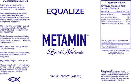 Metamin Equalize Formula, ionic angstrom liquid minerals (Hypo/Thyroid) is also available in 16, 32, or 128 oz sizes.