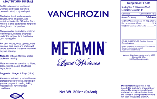 Metamin VanChroZin, Ionic Angstrom Liquid Minerals, available in 16, 32, and 128 oz