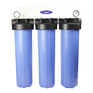"CQ WHOLE HOUSE INLINE WATER FILTER SYSTEM (CITY OR WELL WATER) INLINE, COMPACT MID-SIZE TRIPLE 20"" X 5"" 160K GALLONS CAPACITY"