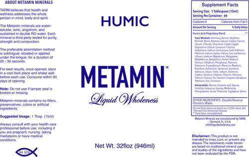Metamin Humic Acid, Ionic Angstrom Minerals (available in 32 oz)