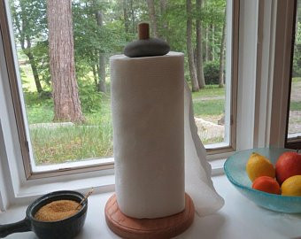 Paper Towel Holder, Wood and Beach Stone, Elegant with a hint of Rusticity