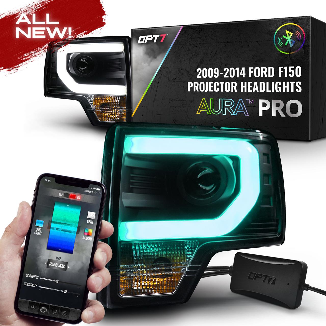 2014 F150 Headlights >> Opt7 09 14 F150 Black Aura Rgb W Drl Led Tube Headlights Projector Bluetooth Built In Full Color