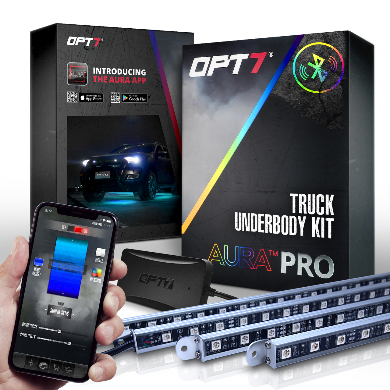 AURA PRO Truck LED Aluminum Underglow Lighting Kit - Bluetooth Enabled APP  Full Color Spectrum