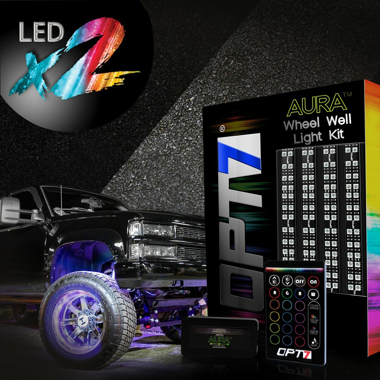 All-Color Strips w//SoundSync Single Row OPT7 3-Into-1 Aura Wheel Well LED Kit