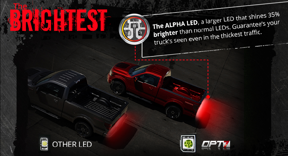 bright LED tailgate light bar