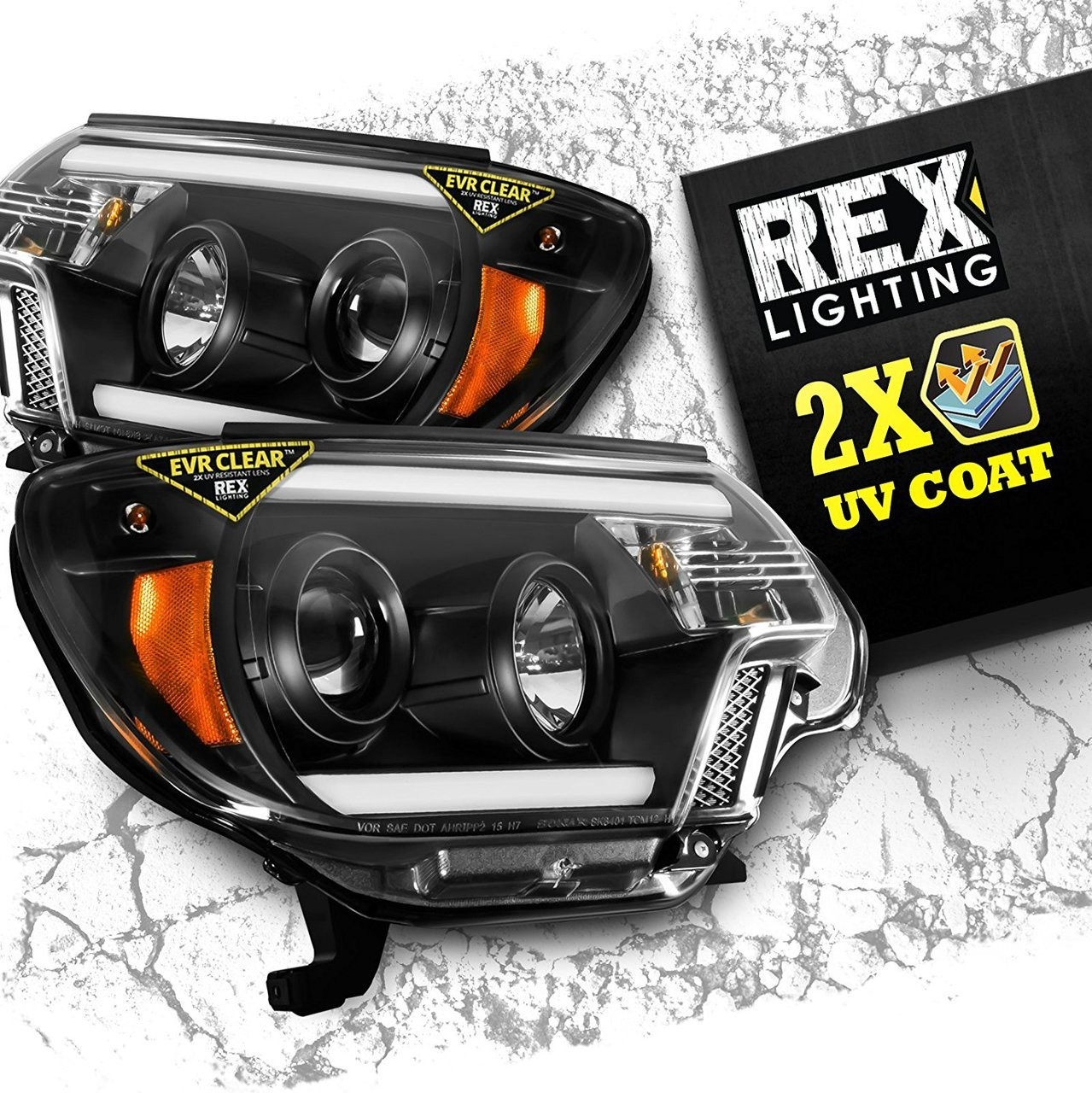 2012-2015 Toyota Tacoma Projector Headlight Assembly with DRL LEDs - Black  / Clear Lens - REX Lighting