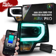 OPT7 09-14 F150 Black AURA RGB-W DRL LED Tube Headlights Projector -Bluetooth BUILT IN Full Color