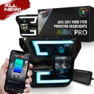 OPT7 15-17 F150 Black AURA RGB-W DRL LED Tube Headlights Projector -Bluetooth Built in Full Color