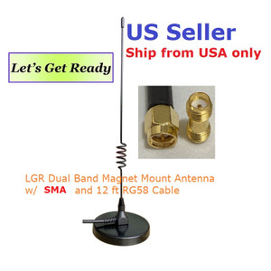 LGR Dual Band Magnet Mount Antenna w/SMA Male 12' RG58 Cable