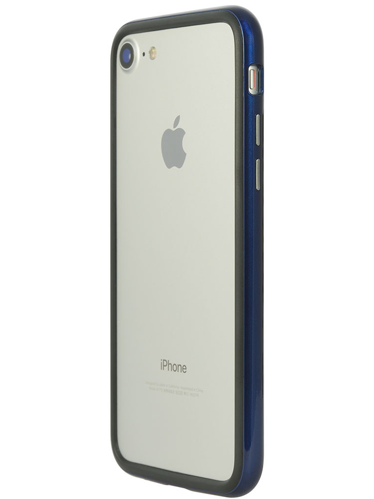 Arc bumper for iPhone 7 Blue Metal on gray iPhone back