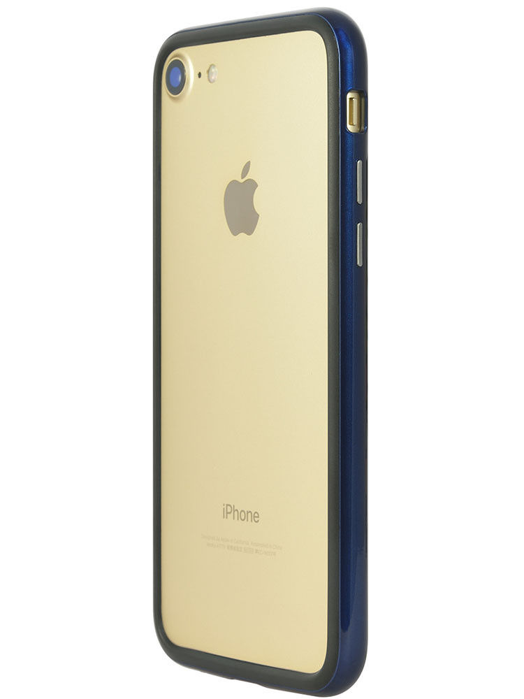 Arc bumper for iPhone 7 Blue Metal on gold iPhone back