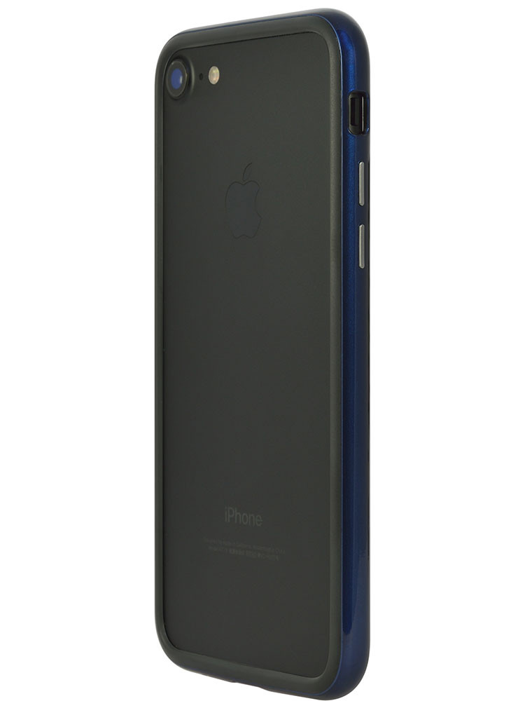 Arc bumper for iPhone 7 Blue Metal on black iPhone back