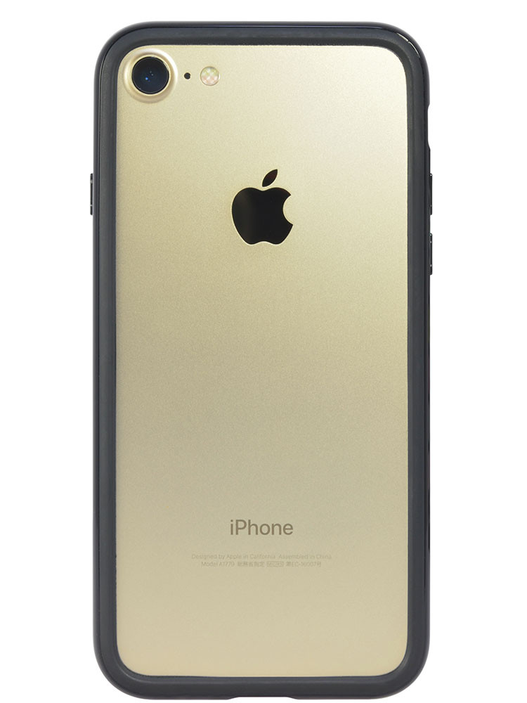 Arc bumper for iPhone 7 Piano Black on gold iPhone back