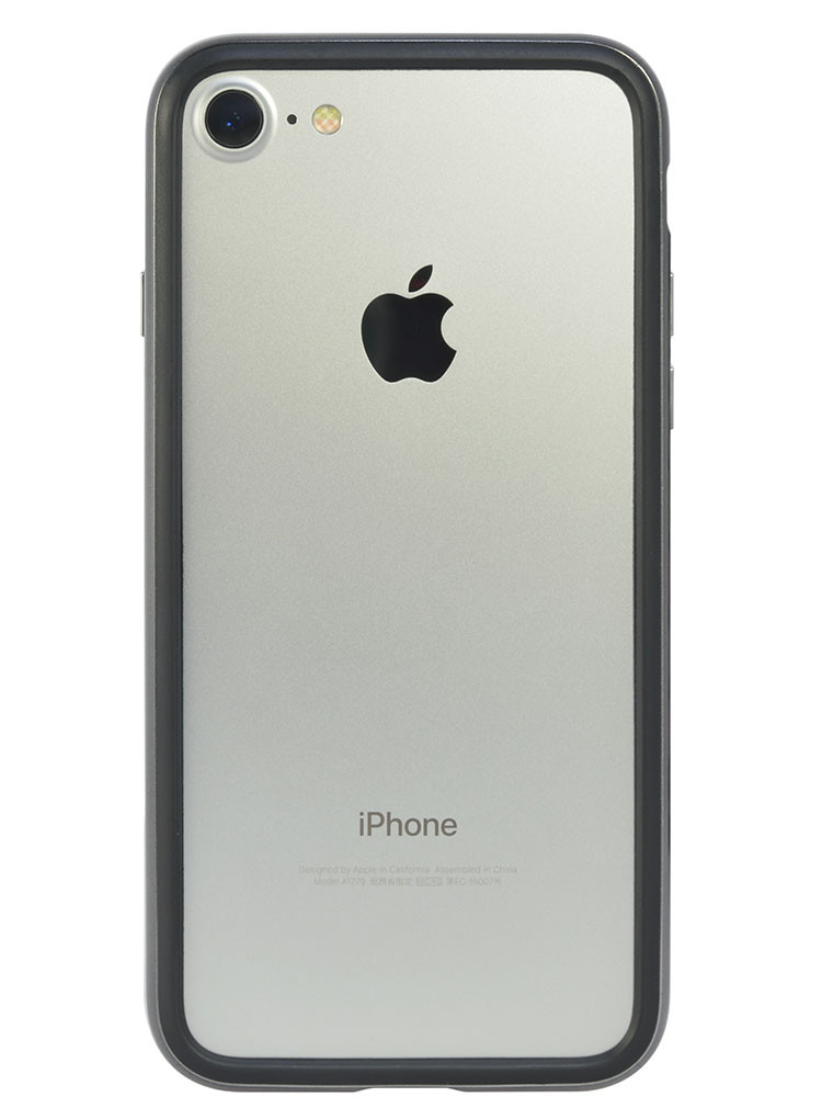 Arc bumper for iPhone 7 Chrome Black on silver iPhone back
