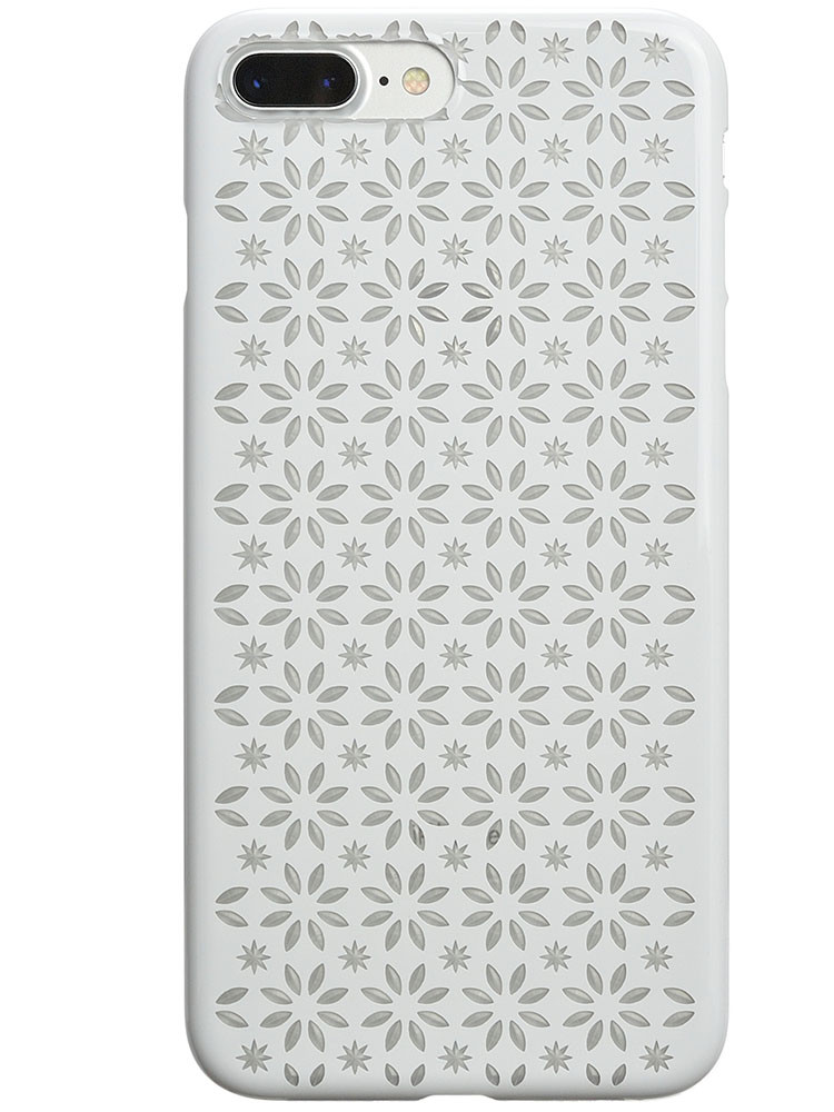 Air Jacket KIRIKO for iPhone 7 Plus Pinwheel & Star Pure White