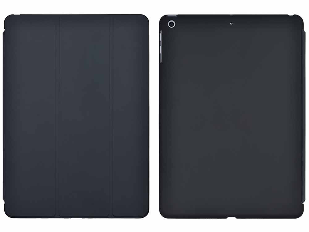 Air Jacket for iPad 9.7-inch 2017 Rubber Black front and back